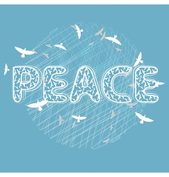 Peace lettering with birds vector