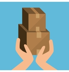 Cardboard box cargo shipping design isolated vector