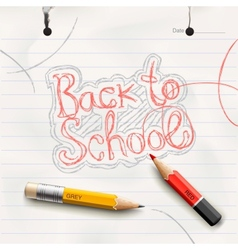 Back to school handwritten with red pencil vector image