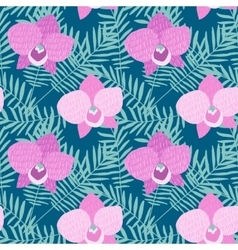 Hand drawn seamless pattern with phalaenopsis pink vector