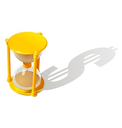Hourglass and dollar shadow vector