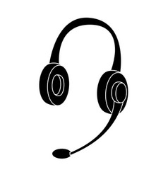 headphones icon in black style isolated on white vector image