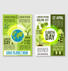 Save earth nature and plant tree templates vector