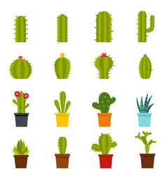 Different cactuses icons set in flat style vector
