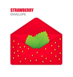 red open envelope with the texture of strawberries vector image