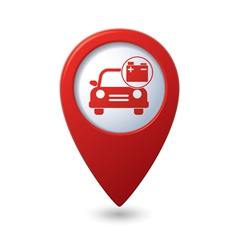 Car with accumulator icon red pointer vector