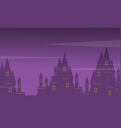 Big castle landscape on halloween vector