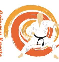 The the man is engaged in karate on a bright vector