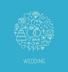 Wedding emblem in outline style vector