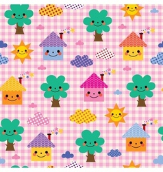 Cute houses trees and clouds kids nature pattern vector
