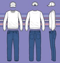 Sweatshirt cap and jeans set vector