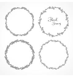 Set of round floral decorative frames vector image