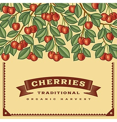 Retro cherry harvest card vector