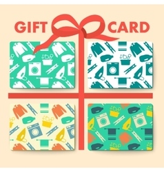Gift cards with laundry and washing seamless vector