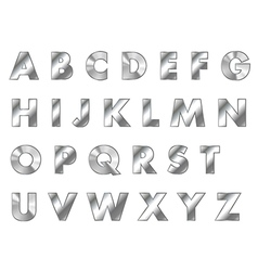 Steel letters metal font vector