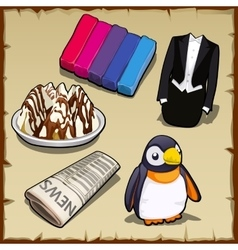 Set of sweets newspapers penguin and other items vector