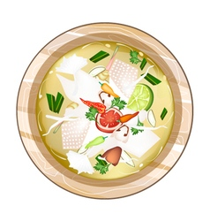 Chicken tom yum or thai spicy sour soup vector