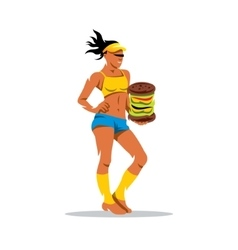 Hungry sports woman cartoon vector