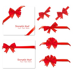 big set of red gift bows vector image