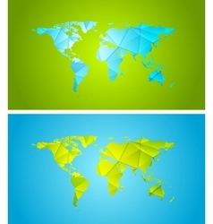 Bright abstract tech polygonal world map design vector
