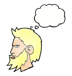 Cartoon man with beard with thought bubble vector