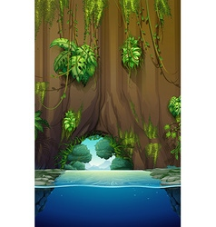 Cave over the water vector image vector image