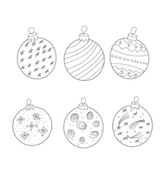 Christmas balls painted black and white doodle vector