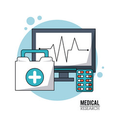 Color poster medical research with icons pulse vector
