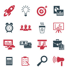Digital black red startup icons vector