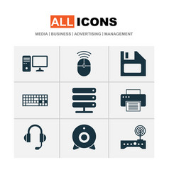 Laptop icons set collection of personal computer vector
