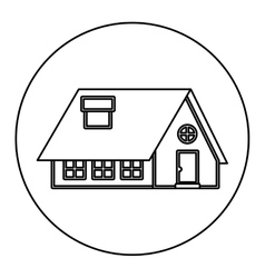 monochrome contour circle of house with chimney vector image vector image