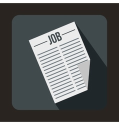 Newspaper with the headline job icon flat style vector