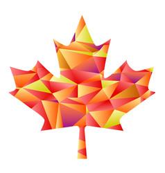 Polygon autumn maple leaf vector