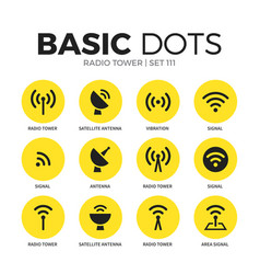 radio tower flat icons set vector image vector image