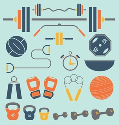 Retro color flat gym and workout equip vector