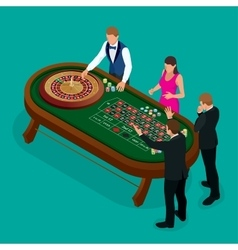Roulette wheel and croupier in casino group of vector