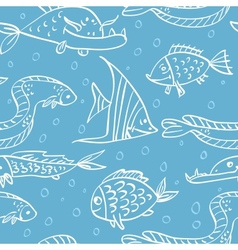 Seamless pattern with fish in the sea vector