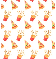 Seamless pattern with pizza slices and french vector
