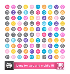 Set of 100 icon with color background for web and vector image