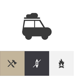set of 4 editable camping icons includes symbols vector image vector image