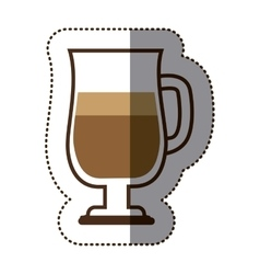 Silhouette color sticker with coffee cocktail vector