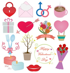 Valentines day icons ornament set vector