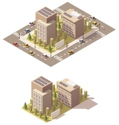 Isometric low poly town street vector