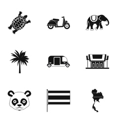 Holiday in Thailand icons set simple style vector image