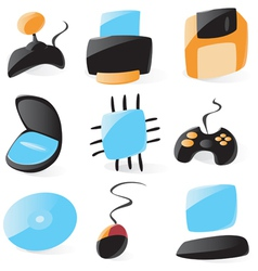 Smooth pc hardware icons vector
