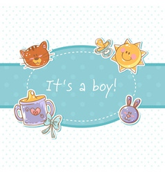 Baby born sweet boy congratulation postcard vector