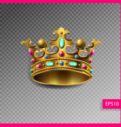 Golden royal crown with multi-colored precious vector