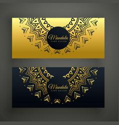 Black and golden mandala decoration banner design vector