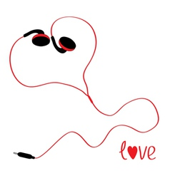 Black and red earphones in shape of heart vector