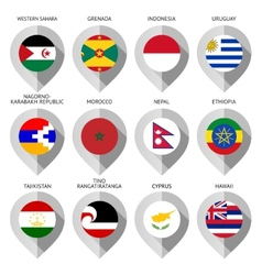 Marker from paper with flag for map - set fifteen vector image